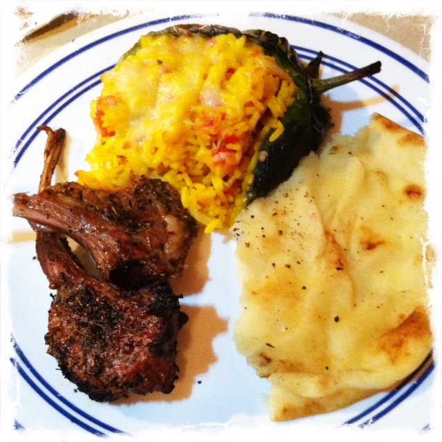 Grilled lamb and poblanos
