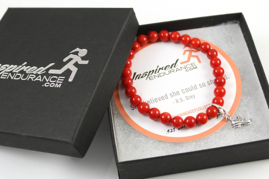 red coral bracelet in gift box with card